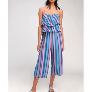 NWT Lulus Gretchen Striped Ruffled Jumpsuit